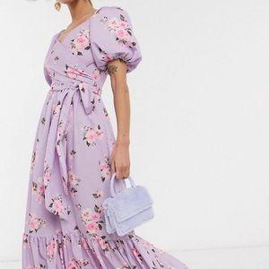Puff Sleeve Wrap Midi Dress